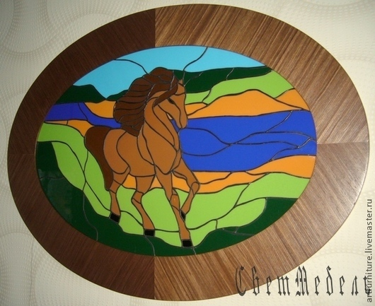 Животные ручной работы. Ярмарка Мастеров - ручная работа. Купить Витражная картина панно Конь - подарок  мужчине символ 2014 года. Handmade.
