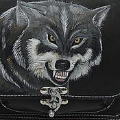 Сумки и аксессуары ручной работы. Ярмарка Мастеров - ручная работа сумка кожаная с  головой волка. Handmade.