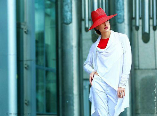 Капюшоны ручной работы. Ярмарка Мастеров - ручная работа. Купить Шляпа с большими полями. Handmade. Ярко-красный, белый, шляпа