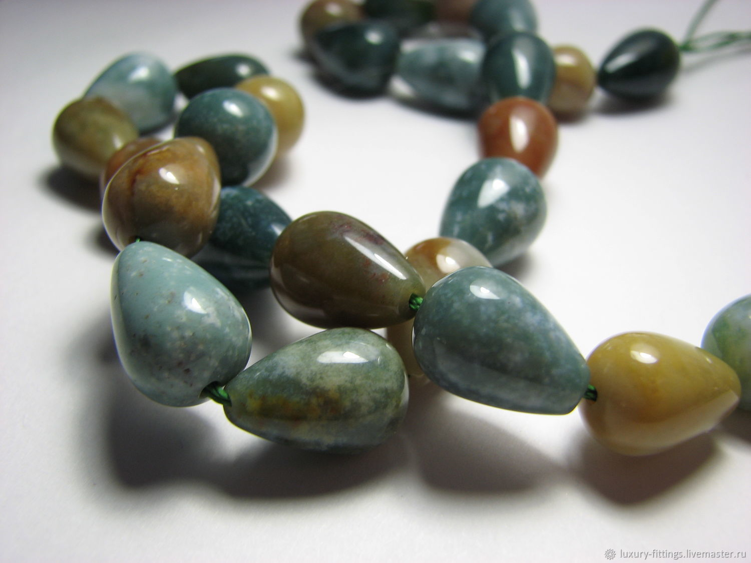 Chalcedony drops (Indian agate) 14h10, Beads1, Moscow,  Фото №1