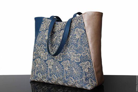 """Женские сумки ручной работы. Ярмарка Мастеров - ручная работа. Купить """"Bleu de France"""" кожаная сумка, синяя сумка, кружевная сумка, золото. Handmade."""