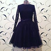 Одежда ручной работы. Ярмарка Мастеров - ручная работа Вечернее черное платье с кружевным верхом и пышной юбкой. Handmade.