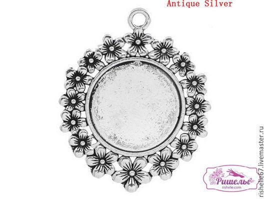 Для украшений ручной работы. Ярмарка Мастеров - ручная работа. Купить Подвеска круглая античное серебро (для 25.0мм Кабошона), 5.2см x 4.2см. Handmade.