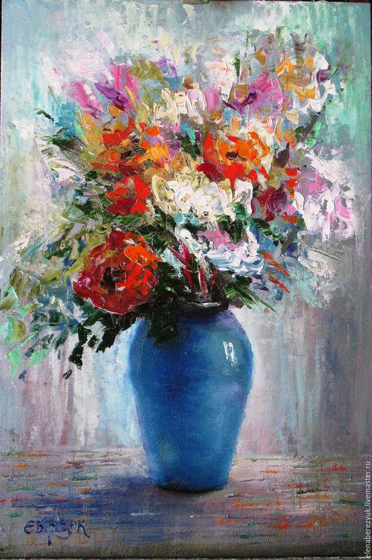 Картины цветов ручной работы. Ярмарка Мастеров - ручная работа. Купить Букет в синей вазе картина маслом. Handmade. Мятный