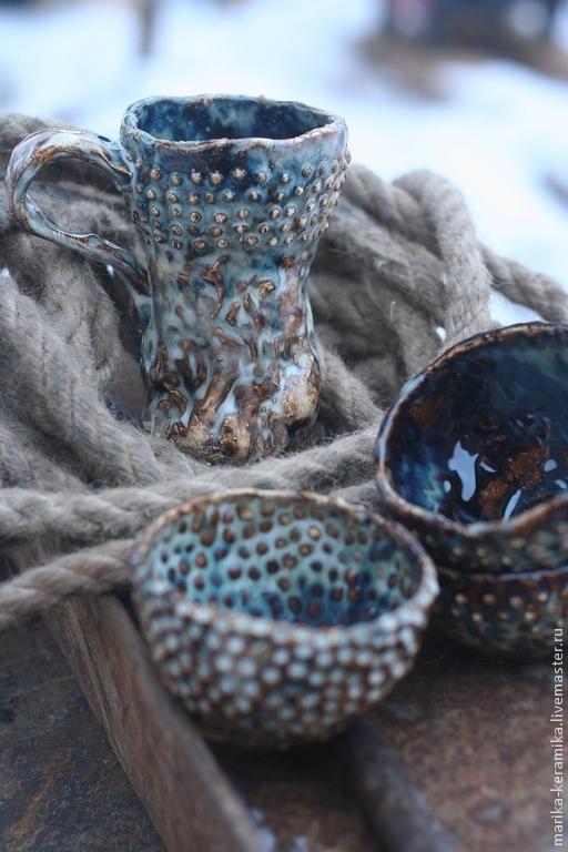 Бокалы, стаканы ручной работы. Ярмарка Мастеров - ручная работа. Купить Бокал Исландия. Handmade. Бирюзовый, эффекты, керамическая посуда