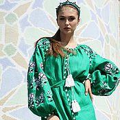 Одежда handmade. Livemaster - original item Dress linen green with embroidery. Handmade.