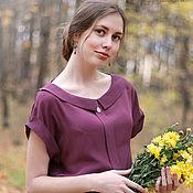 Одежда ручной работы. Ярмарка Мастеров - ручная работа Блузка из натурального шёлка Вересковая. Handmade.