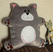 Для дома и интерьера ручной работы. Ярмарка Мастеров - ручная работа кот открытка-подушка. Handmade.