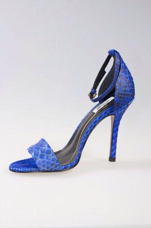 Обувь ручной работы. Ярмарка Мастеров - ручная работа. Купить Синие босоножки на каблуке из натуральной кожи питона. Handmade. Питон