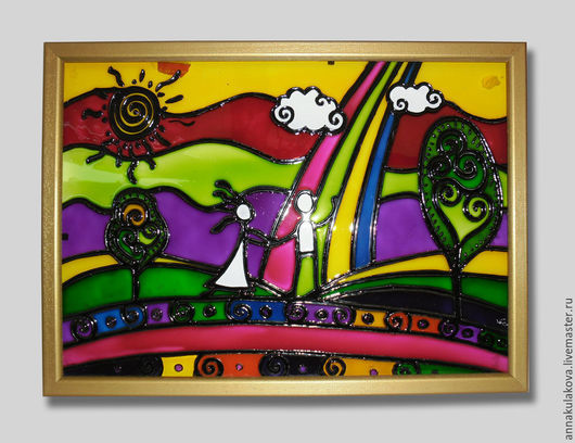 Абстракция ручной работы. Ярмарка Мастеров - ручная работа. Купить Витраж. Handmade. Графика, стекло, контуры акриловые