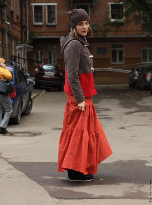 """Юбки ручной работы. Ярмарка Мастеров - ручная работа. Купить Юбка на каждый день """"Джинсовая"""" терракотовая. Handmade. Рыжий, джинс"""