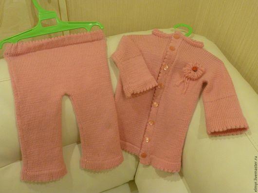 Для новорожденных, ручной работы. Ярмарка Мастеров - ручная работа. Купить Вязанный костюм  для девочки. Жакет и брюки.. Handmade. Розовый