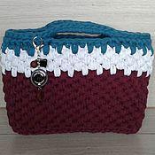 Классическая сумка ручной работы. Ярмарка Мастеров - ручная работа Женская вязаная сумка из трикотажной пряжи. Handmade.