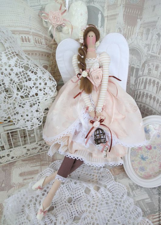 Куклы Тильды ручной работы. Ярмарка Мастеров - ручная работа. Купить Винтажный ангел для Зины. Handmade. Бежевый, подарок женщине
