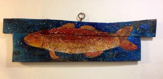 """Элементы интерьера ручной работы. Ярмарка Мастеров - ручная работа. Купить """"Рыба"""". Handmade. Тёмно-синий, картина, картина на кухню"""