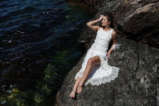 Платья ручной работы. Ярмарка Мастеров - ручная работа. Купить Белое валяное платье с кружевом. Handmade. Белый, длинное платье
