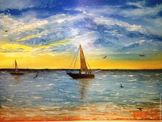 """Пейзаж ручной работы. Ярмарка Мастеров - ручная работа. Купить Картина маслом. """"Закат на море"""". Handmade. Синий, желтый, корабль"""