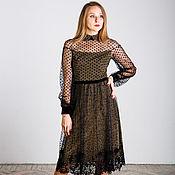 Одежда handmade. Livemaster - original item Black and gold dress with long sleeves polka dot. Handmade.