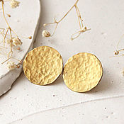 Серьги-пусеты ручной работы. Ярмарка Мастеров - ручная работа Солнечные диски пусеты серьги. Handmade.