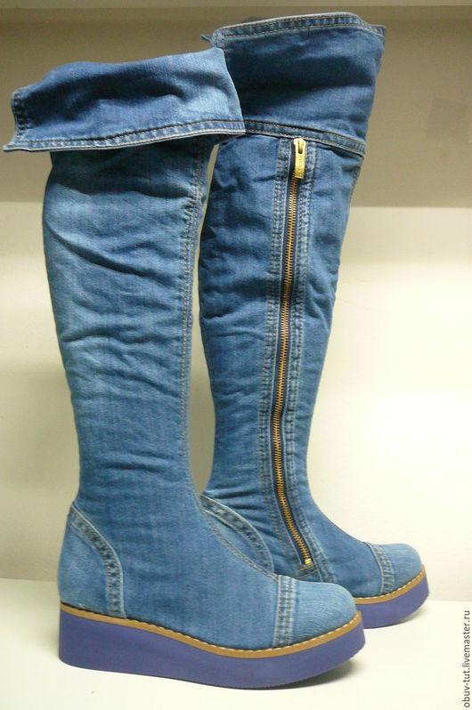 Обувь ручной работы. Ярмарка Мастеров - ручная работа. Купить Ersax джинсовые женские ботинки сaпоги кожaнные 36,37,38,39,40 Киев. Handmade.