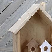 Материалы для творчества ручной работы. Ярмарка Мастеров - ручная работа Полочка-домик, заготовка из дерева. Handmade.