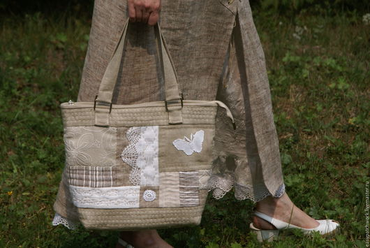 Женские сумки ручной работы. Ярмарка Мастеров - ручная работа. Купить Сумка летняя льняная. Handmade. Бежевый, сумка с декором