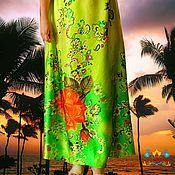 """Одежда ручной работы. Ярмарка Мастеров - ручная работа юбка шелк длинная """"Солнце в тропиках"""". Handmade."""