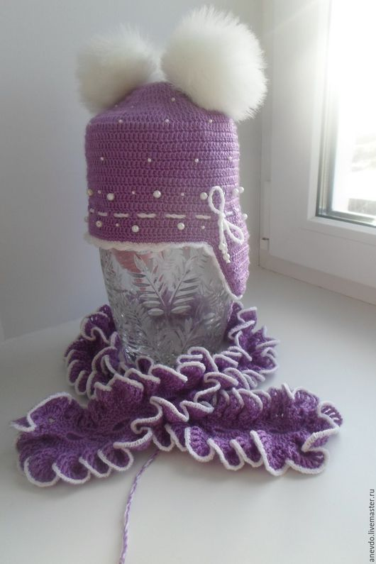 Детские аксессуары ручной работы. Ярмарка Мастеров - ручная работа. Купить комплект шапочка и шарфик. Handmade. Разноцветный, комплект для малыша