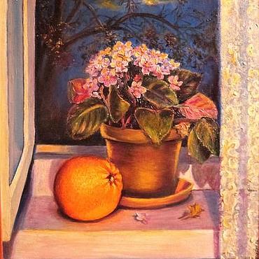 Картины и панно ручной работы. Ярмарка Мастеров - ручная работа Картина маслом Апельсин и фиалка. Handmade.