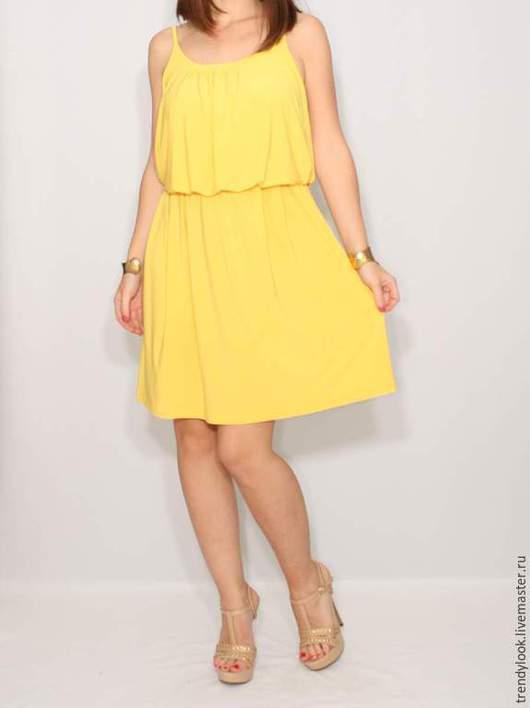 Платья ручной работы. Ярмарка Мастеров - ручная работа. Купить Желтое Платье летнее, короткий сарафан на бретельках. Handmade. Желтый