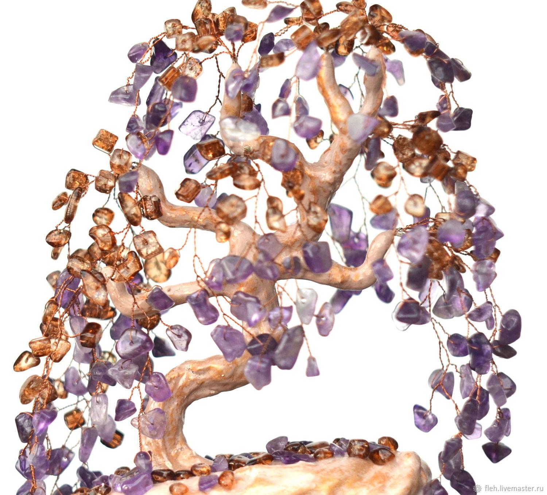 Дерево из натуральных камней аметиста и кварца, Деревья, Новосибирск, Фото №1