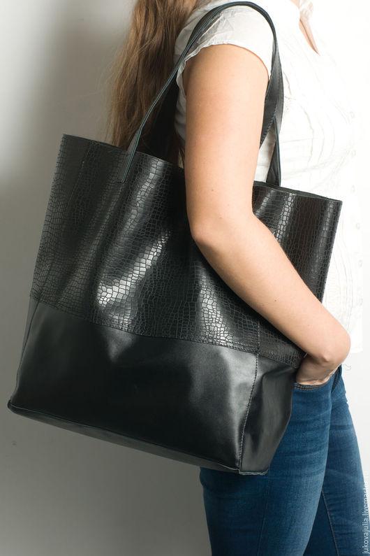 Женские сумки ручной работы. Ярмарка Мастеров - ручная работа. Купить Сумка шоппер черная из натуральной кожи. Handmade. Черный