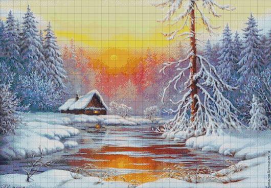 """Вышивка ручной работы. Ярмарка Мастеров - ручная работа. Купить Набор вышивания бисером """" Зимний пейзаж"""" худ.В Княгницкий. Handmade."""