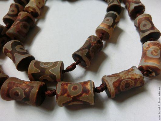 Тибетский Агат Дзи 3 глаза бусина бамбук. Бусины агата дзи для колье, агат Дзе бусины для браслетов, агат дзи бусина для серег.