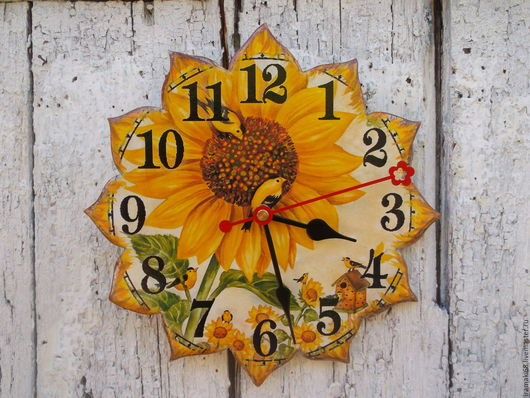 """Часы для дома ручной работы. Ярмарка Мастеров - ручная работа. Купить """"Лучик солнца золотого"""" часы настенные. Handmade. Желтый"""