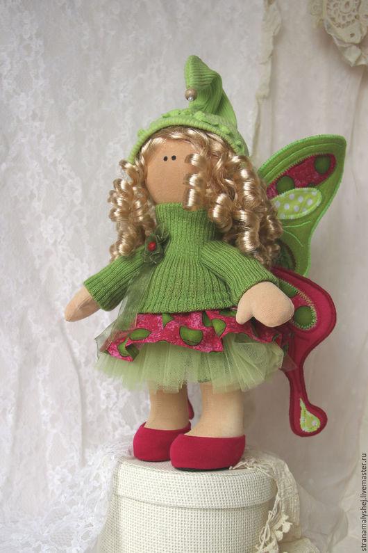 Сказочные персонажи ручной работы. Ярмарка Мастеров - ручная работа. Купить Кукла-бабочка.Зеленая с малиновым. Интерьерная кукла.. Handmade.