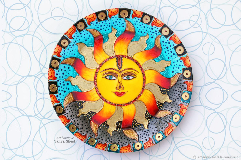 Декоративная посуда ручной работы. Ярмарка Мастеров - ручная работа. Купить Декоративная тарелка 'Энергия Солнца' ручная роспись. Handmade.