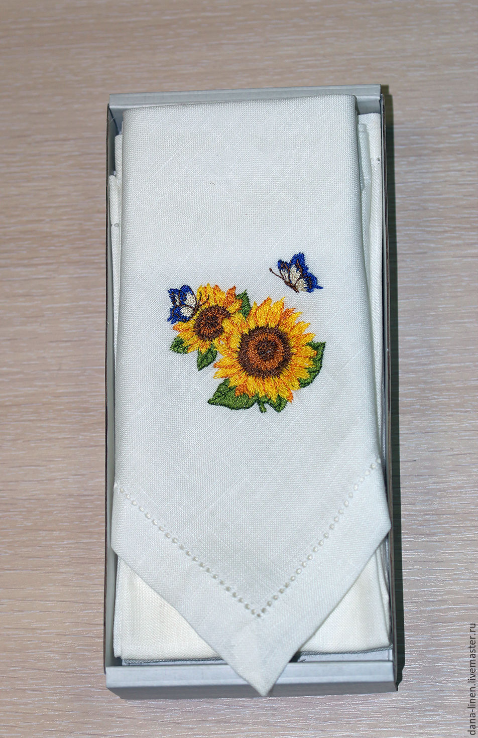 Set linen napkins with embroidery 'Summer', Swipe, Moscow,  Фото №1