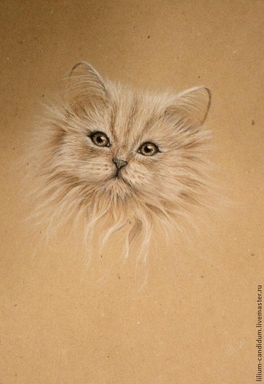 Животные ручной работы. Ярмарка Мастеров - ручная работа. Купить Кошка. Эскиз. Handmade. Бежевый, пастель, графика, Пастельная бумага