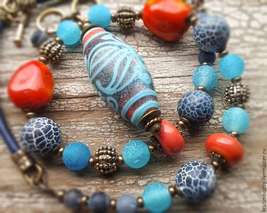 """Колье, бусы ручной работы. Ярмарка Мастеров - ручная работа. Купить Ожерелье """"Индиана Джинс"""". Handmade. Ожерелье, джинсы, коралл"""