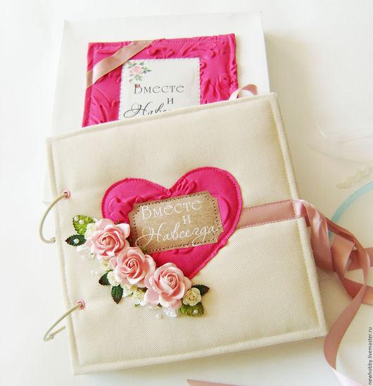Свадебные фотоальбомы ручной работы. Ярмарка Мастеров - ручная работа. Купить Свадебный фотоальбом и книга для пожеланий 2 в 1. Handmade.
