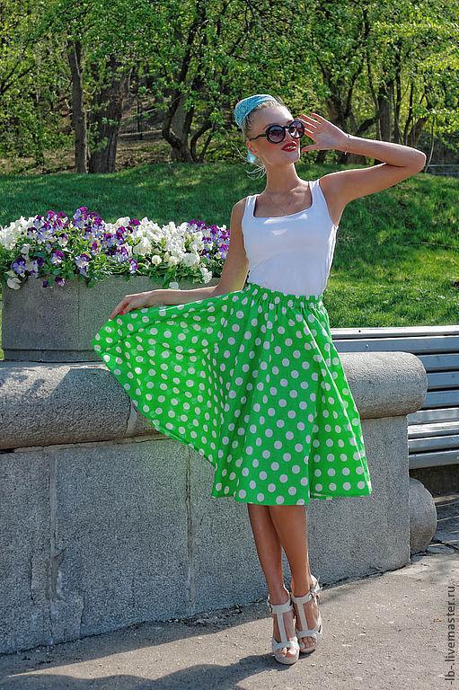 """Юбка-солнце """"Стиляга"""" в стиле 50-х годов из натурального хлопка. Отлично сидит на любой фигуре, идеальна в солнечную погоду и жаркий, знойный день."""