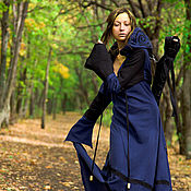 Субкультуры handmade. Livemaster - original item Elven Dress «Druidess» Long Fantasy Linen  Blue Hooded Elvish Dress. Handmade.
