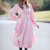 Элегантное кашемировое платье, Розовое платье на зиму DR0160CA