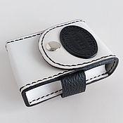 handmade. Livemaster - original item White and black leather cigarette case.. Handmade.