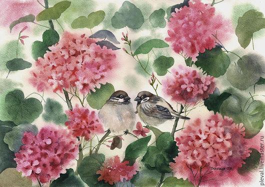 Картины цветов ручной работы. Ярмарка Мастеров - ручная работа. Купить Картина акварелью Два воробья в цветах герани. Handmade.