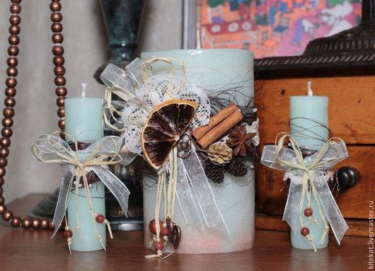"""Свадебные аксессуары ручной работы. Ярмарка Мастеров - ручная работа. Купить Свадебные свечи """"Винтаж"""". Handmade. Мятный, кружево, парафин"""