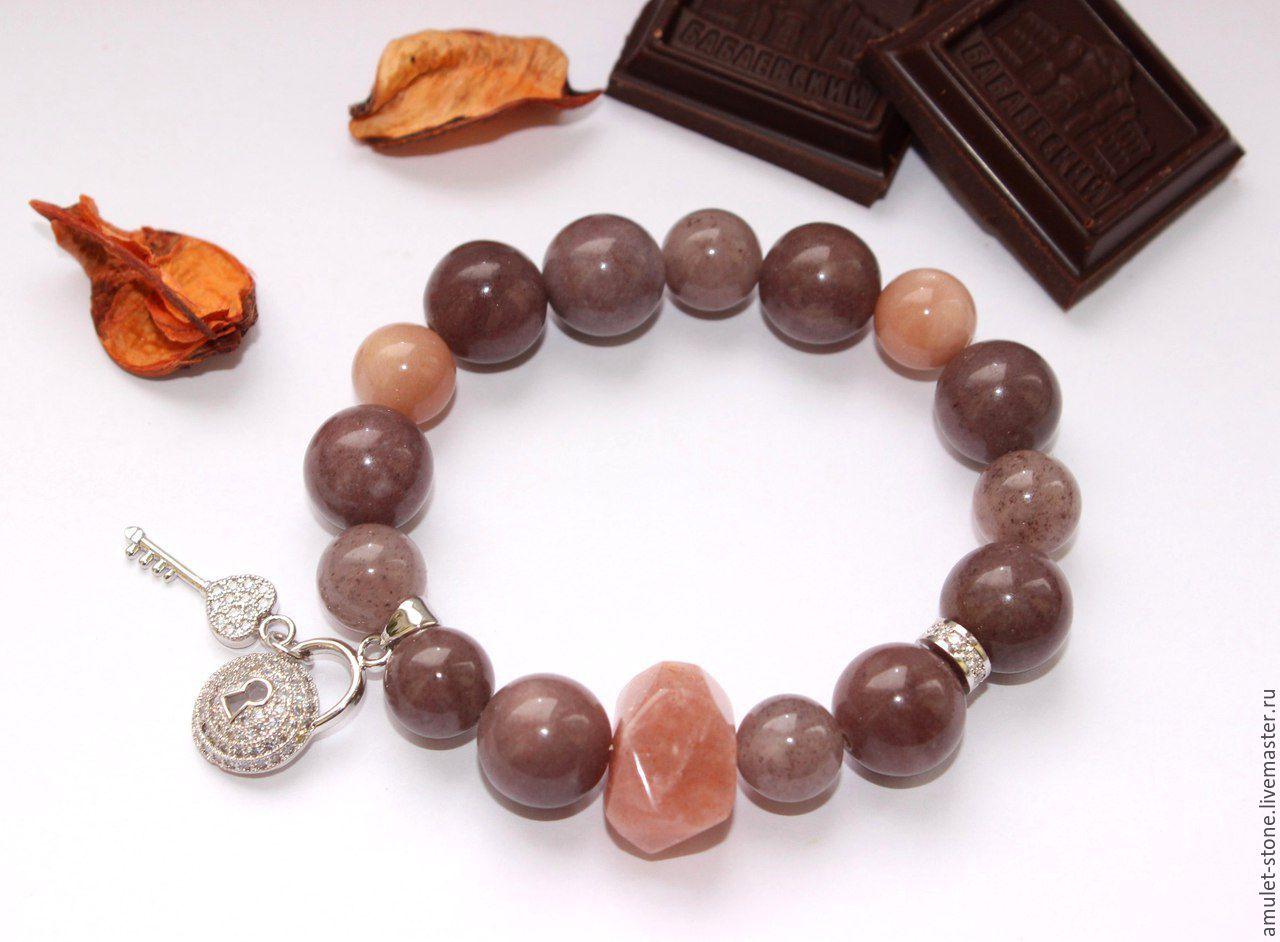 Браслет с авантюрином Всё в шоколаде, из натуральных камней
