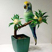Куклы и игрушки ручной работы. Ярмарка Мастеров - ручная работа Волнистый попугайчик на веточке. Handmade.
