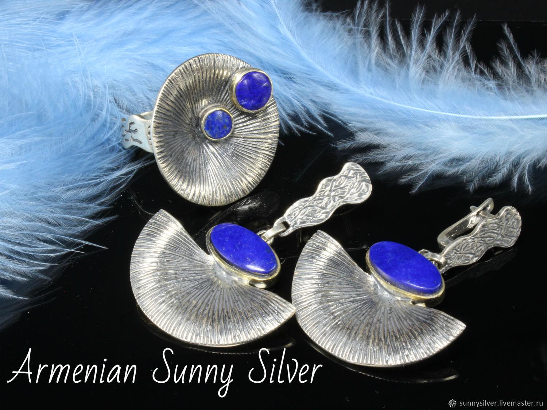Abrus jewelry set with lapis lazuli made of 925 silver (VIDEO), Jewelry Sets, Yerevan,  Фото №1